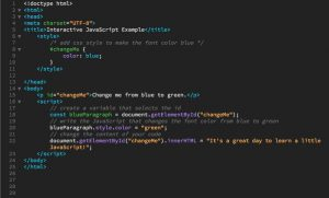 Code for interactive JavaScript example with innerHTML