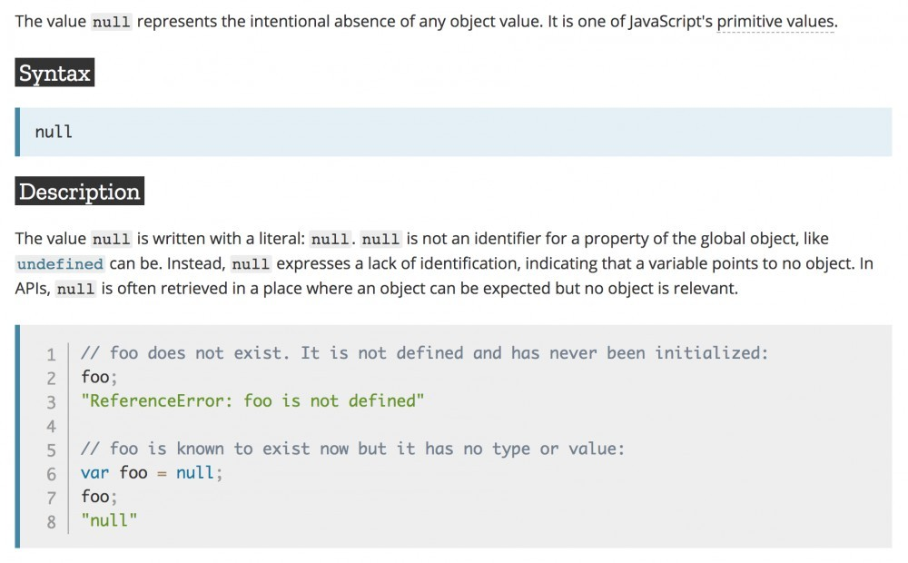 mdn explanation for null in javascript