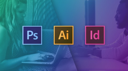 Graphic Design Masterclass image with Photoshop, Illustrator and InDesign logos