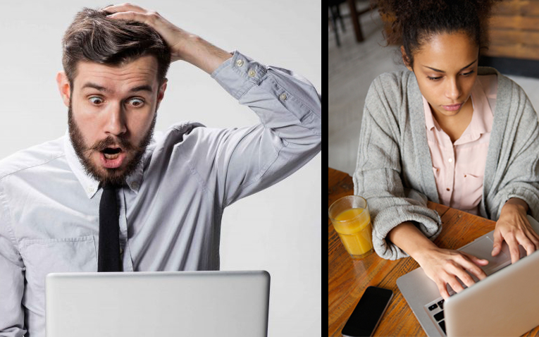 Frustrated man and calm woman learning how to program