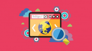 SEO Training Course by Moz with Computer Screen and Search Engine