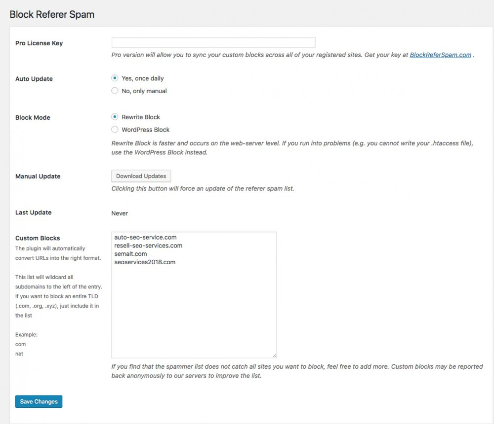 screen shot of the block referer spam plugin