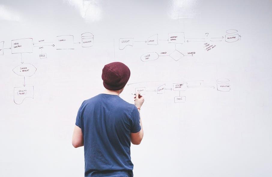 Man taking whiteboard challenge