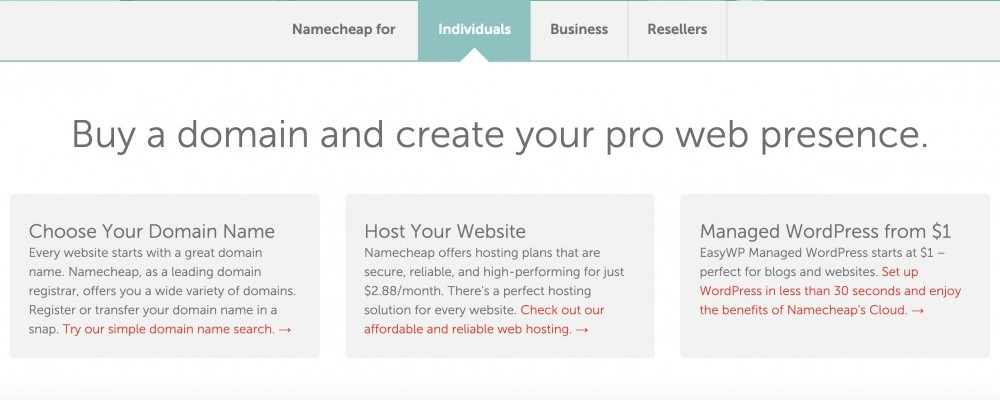 Namecheap screen